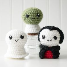 Trick or Treat 1: Ghost, Zombie, Vampire Crochet Amigurumi Pattern, 4 inch
