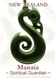 Manaia: The carrier of supernatural powers. Traditionally depicted with the head of a bird, the body of a man and the tail of a fish - representing sky, earth and sea and the balance between. Protects the wearer from evil.  OMG I'm wearing one right now, given to me by my partner when I was in NZ this past January '12 :)