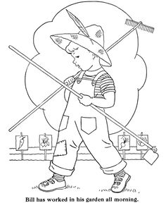 BlueBonkers: Boy Coloring Pages - Boy in the Garden - Free Printable Kids Coloring Sheets for Boys Garden Coloring Pages, Coloring Pages For Boys, Animal Coloring Pages, Coloring Pages To Print, Coloring Book Pages, Boy Coloring, Coloring Sheets, Sewing Art, Hand Embroidery Patterns