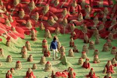 500 sand art Santas by Sudersan Pattnaik ~ Photo by...STR Getty Images© Photo 2 of 2