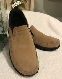 fffc0cbed4f Women s LL Bean Sz 9 Tan Suede Leather Slip On Mocs Casual Loafers Shoes  EUC
