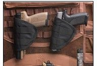 Store more handguns in your safe with the versatile new DPX Handgun Pouches. These versatile pouches include snap-straps to allow use on the MOLLE System used on the DPX and also hook and loop fasteners for use on carpeted interior surfaces. Set of two. Brown box package. Not intended for use as a holster. Price: $30.00