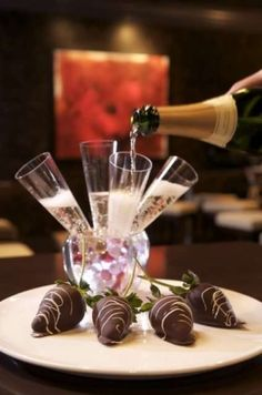 Signature Champagne Shooters with Grand Marnier Injected Chocolate Covered Strawberries