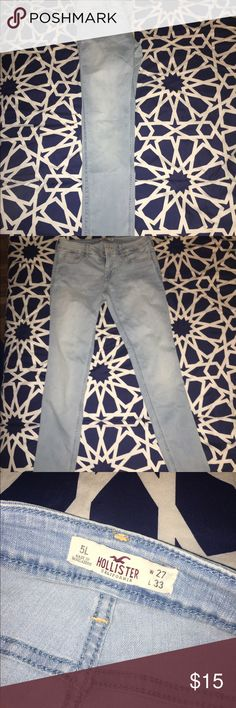 """Jeans light wash jeans from Hollister. Never been worn, waist 27"""" length 33"""" Hollister Jeans Skinny"""