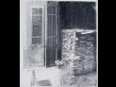 Julio Vaquero (2005), Puerta gris y mancha de agua, Lápiz graso y aguada sobre papel vegetal, 192 x 168,5 cm.