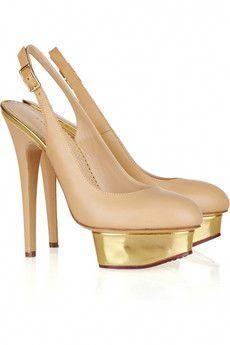I don t know Charlotte Olympia but i do now! Nude and gold slingbacks c58eeb6edae