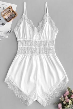 Buy White Lace Insert Slip Pajama Romper Style: Casual Material: Polyester,Polyurethane Collar-line: Spaghetti Strap Pattern Type: Solid Decoration: Lace Season: Summer Lingerie Outfits, Lingerie Dress, Pretty Lingerie, Lingerie Set, Cute Sleepwear, Sleepwear Women, Slep Dress, Femmes Les Plus Sexy, Girl Clothing