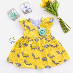 Lotus Dress in Yellow Fox Print
