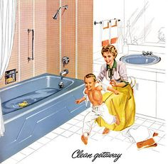 50's Home Decor....ahhh, a pink and blue bathroom, we had one of those!