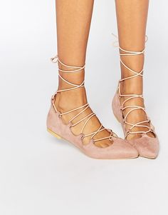 Image 1 ofGlamorous Dusty Suede Pink Ghillie Tie Up Flat Shoes