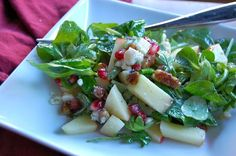 Lady Gouda: The Elegant Fall Salad: Apple, Pomegranate and Arugula Salad with Apple Cider-Honey Vinaigrette Fall Recipes, Soup Recipes, Vegetarian Recipes, Cooking Recipes, Healthy Recipes, Apple Cider And Honey, Pomegranate Recipes, Savory Salads, Salads