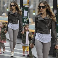 Love the grey jeans and converse. Sarah Jessica Parker Wearing Cropped Leather Jacket
