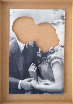 Hans-Peter Feldmann Liebespaar ohne Köpfe in Holzkiste, 2013 B photo, cut out Framed: 53 x 37 cm / 20.9 x 14.6 inches Unframed: 43 x 27,5 cm / 16.9 x 10.8 inches Courtesy of the artist and Johnen Galerie. | The Highlights Of Art Basel in Hong Kong {2013} | Yatzer