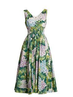Dolce & Gabbana Hydrangea-print sleeveless cotton-poplin dress
