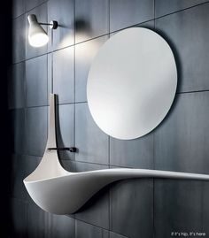"""""""Wing"""" by Ludovico Lombardi is a wall sink by Ludovico Lombardi designed for Falper.The design is simple, focusing on creating a basin that appears to be meltin Lavabo Design, Sink Design, Washbasin Design, Vanity Design, Futuristic Furniture, Modern Furniture, Furniture Design, Beautiful Bathrooms, Modern Bathroom"""