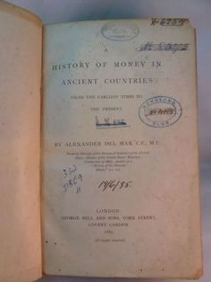 History of Money in Ancient Countries Alexander del Mar 1885 George Bell & Sons