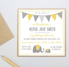Personalised Elephant Christening Invitations by Precious Little Plum, the perfect gift for Explore more unique gifts in our curated marketplace. Baby Shower Camo, Baby Girl Shower Themes, Baby Shower Decorations, Christening Invitations, Printable Baby Shower Invitations, Baby Shower Printables, Invitation Examples, Naming Ceremony, Beautiful Baby Shower