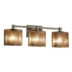 Justice Design Group Fusion Tetra 3 Light Vanity Light Finish: Brushed Nickel, Shade Color: Almond