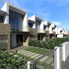 edificio in linea Row House Design, Duplex House Design, Modern House Design, Contemporary Architecture, Architecture Design, Street House, Town House, Minimalist House Design, Facade House