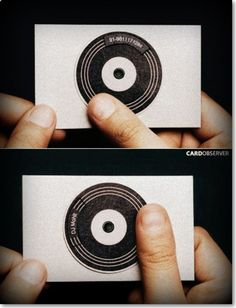 2.DJ's Business Card:          This one i could say, brilliantly designed business card ever.simple,creative and innovative design. The circled portion in between this card is nothing but illusion of disc which is played in disco's by DJ's and most amazing thing of this card is that disc is movable.both side it has disc,on disc of one side name of DJ is written and on other its contact