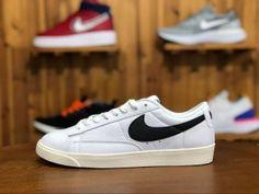 78c7afe7f91b3 Mens Womens Skate Shoes Nike Blazer Low Premium White black hook 454471-104  Nike Basketball