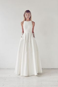 Collections - Suzanne Harward | simple wedding dress | modern | elegant | true white | sleeveless | high neck