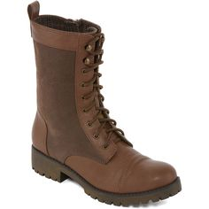 Groove Silver Womens Combat Boots - Brown - Size 6 Medium - Female -... (42 NZD) ❤ liked on Polyvore featuring shoes, boots, dark brown combat boots, brown shoes, silver boots, dark brown boots and brown boots