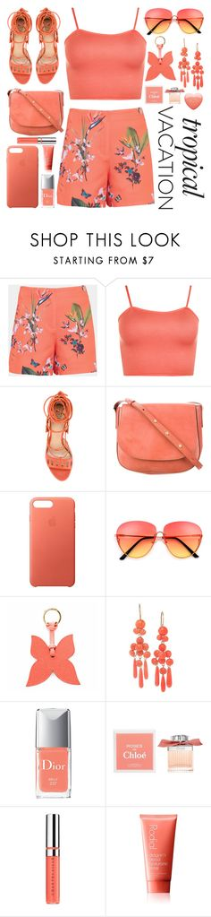 """Tropical Vacation  #2"" by katie-longmore ❤ liked on Polyvore featuring Ted Baker, WearAll, Paula Cademartori, Mansur Gavriel, Apple, La Portegna, Christian Dior, Chloé, Chantecaille and Rodial"