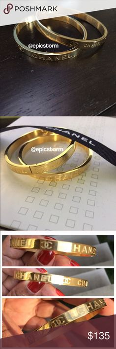 Chanel Logo Style Bracelet Just found it. Very pretty in person. Excellent gift or keep and stack with other bracelets. As is. Jewelry Bracelets