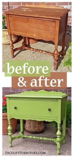 Vintage End Table in Distressed Lime Green - Before & After from Facelift Furniture