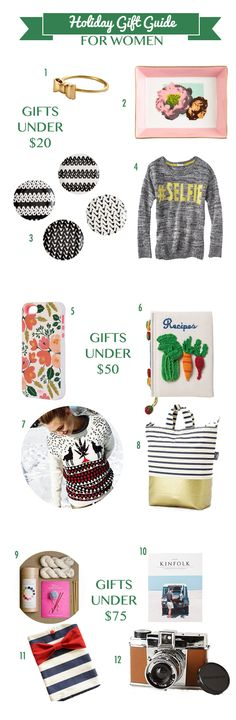 Holiday Gift Guide for Women. Gifts Under $20, Under $50, and Under $100 for any women on your list.