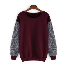 Round Neck Contrast Sleeve Loose Red Sweatshirt ($13) ❤ liked on Polyvore featuring tops, hoodies, sweatshirts, sweaters, shirts, sweatshirt, romwe, shirt tops, loose fit shirt and red top