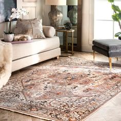 Shop nuLOOM Traditional Fancy Medallion Border Area Rug - Overstock - 27750958 - x Runner - Light Brown Up House, River House, Farm House, Orange Rugs, Orange Area Rug, Brown Rug, Rugs Usa, Round Rugs, Online Home Decor Stores
