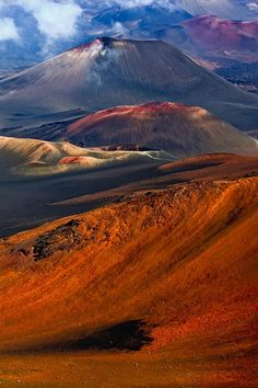 Haleakala Crater, Maui, Hawaii--Take away the clouds, and nothing on earth looks more like Mars, in my opinion.  Beautiful!