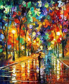 Leonid Afremov es un pintor bielorruso con nacionalidad israelí. Sus pinturas generalmente son paisajes, escenas urbanas, flores, marinas y retratos coloreados vívidamente; generalmente pintados usando espátula y pintura al óleo.