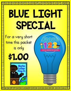 $1 BLUE LIGHT SPECIAL - Martin Luther King Jr. Fluency Center - on sale for a very short time (1/14/15).  Follow my Facebook page so you won't miss the next Blue Light Special.