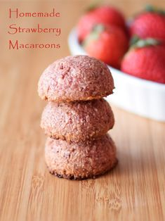 Homemade Strawberry Macaroons - Paleo, Vegan, Raw and Chocolate-Covered Variations (almost too good to be true - popular with all!)