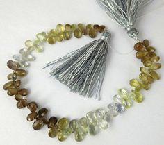 "1 Strand Natural Chrysoberyl Pear Shape 5x7mm Briolette Strand Beads,7"" Long"