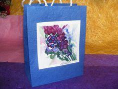 Handmade Paper Gift Bag  Burgundy Blue Bunch by TheGiftoftheGAB, $5.00