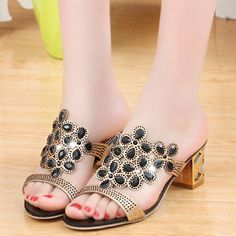 Lucyever Women Summer Fashion Rhinestone Slipper Sexy Hollow Out Chunky High  Heels Sandals Crystal Party Shoes Woman Flip Flops 70460a014677