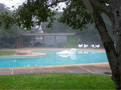 MID-CENTURY MODERN STYLE. Donnell Garden,1948, Sacramentto, California.  Thomas Church, landscape architect, Kidney-shaped pool with sculpture island. Sculpture by Adaline Kent.