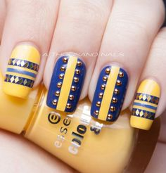 Unique blue and yellow Aztec nails with beads and glitter