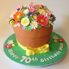 It really doesn't get much cuter than this flower pot cake. Made to celebrate a 70th birthday.    Inside was our delicious Devils Food Chocolate cake filled with chocolate ganache.