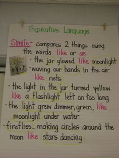 Another skill chart (Figurative Language - Simile) directly linked to a mentor text - Fireflies by Julie Brinkloe