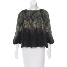 Pre-owned Giambattista Valli Silk Peacock Print Top ($295) ❤ liked on Polyvore featuring tops, black, mixed print top, print top, multi color tops, patterned tops and peacock print top