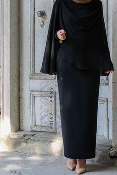 Hijab Fashion | Annah Hariri | Nuriyah O. Martinez | Cape Dress in Black Versatile chiffon cape Modest wear
