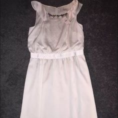 NWT White Loft Dress Brand new dress from LOFT. A nice white creamy color. Has jewel details around neck. Lightweight perfect for spring or summer. Feel free to make an offer, need to clear out my closet! LOFT Dresses Midi