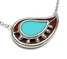 Paisley  Stained glass necklace  chain included 1438 by LingGlass, $30.00
