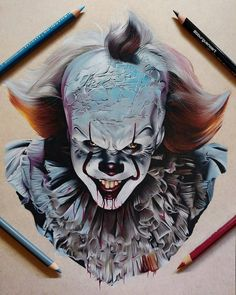 """20k Likes, 75 Comments - World of Pencils (@worldofpencils) on Instagram: """"One of our favorite colored pencil drawings of 2017 by artist @bburguenoart #Pennywise #fanart…"""""""