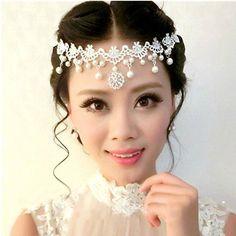 HITOP Exklusive Sonderanfertigungen Damen Griechisch süß elegant StrassFünf Diamant Perle Blume Diadem Haarschmuck Braut Kopfschmuck Haarsch...